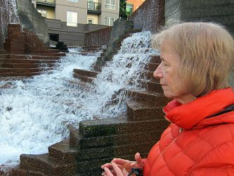 Barb at another fountain in Portland.