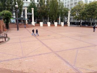 "Pioneer Courthouse Square, known as ""Portland's Living Room."""