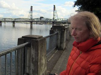 Barb at the River Walk, Portland. That's the Willamette River.